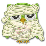 Mummy Owl Halloween Applique Design