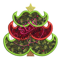 Mustache Christmas Tree Applique Design 4x4