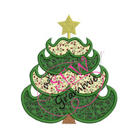 Mustache Christmas Tree Applique Design 6x7