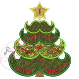 Mustache Christmas Tree Applique Design 7.8x9