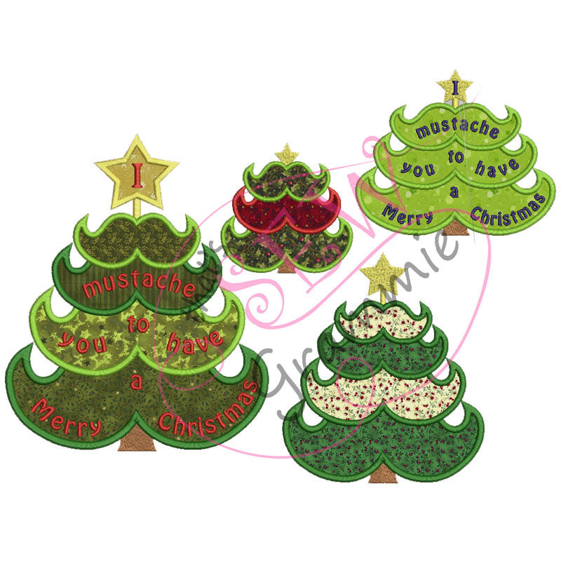Mustache Christmas Tree Applique Design Set