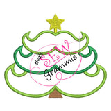 Mustache Christmas Tree Applique Design 5x6 only
