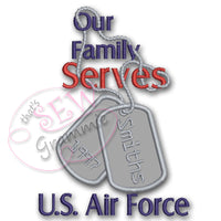 Our Family Serves Applique Design Air Force