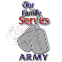 Our Family Serves Applique Design Army