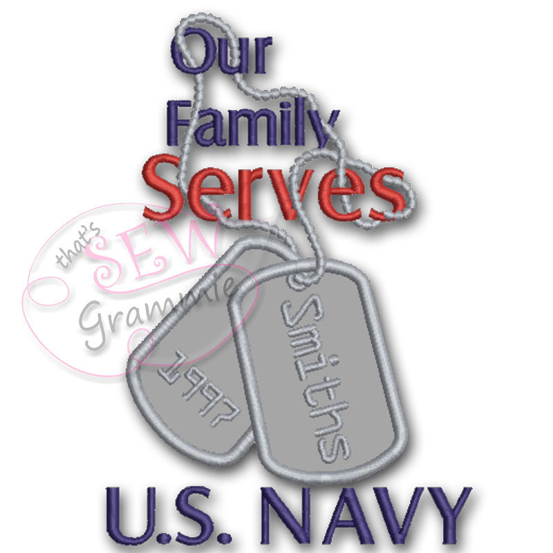 Our Family Serves Applique Design Navy