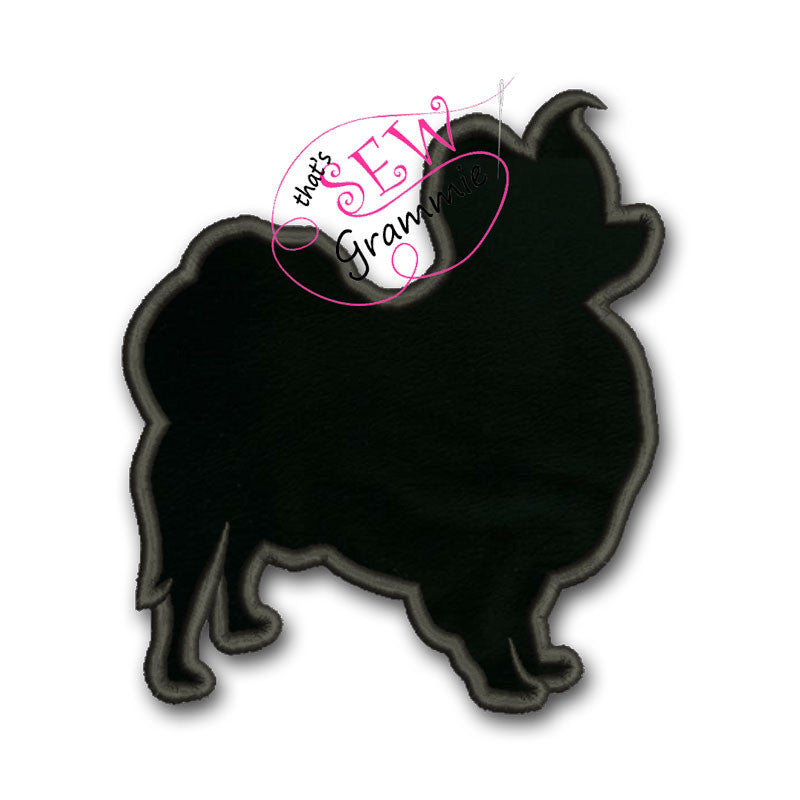 Papillon Dog Silhouette Applique Design