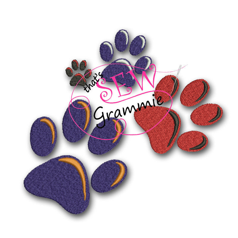 Paw Prints FILLED Embroidery Design