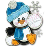 Penguin Boy Applique Design w/ Snowballs