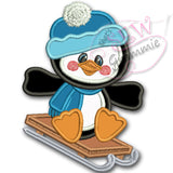 Penguin Boy Applique Design with Sled