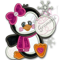 Penguin Girl Applique Design w/ Snowballs