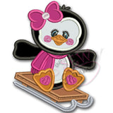 Penguin Girl Applique Design w/ Sled