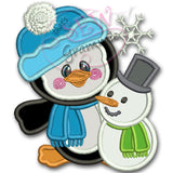 Penguin Boy Applique Design w/ Snowman