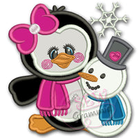 Penguin Girl Applique Design w/ Snowman