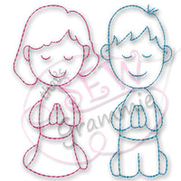 Prayer Kids Red Work Embroidery Design