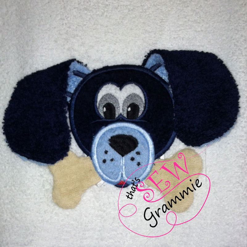 Puppy with Bone 3D Applique Design