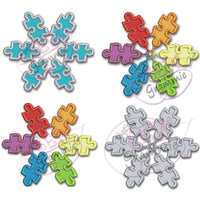 Autism Awareness Snowflake Applique