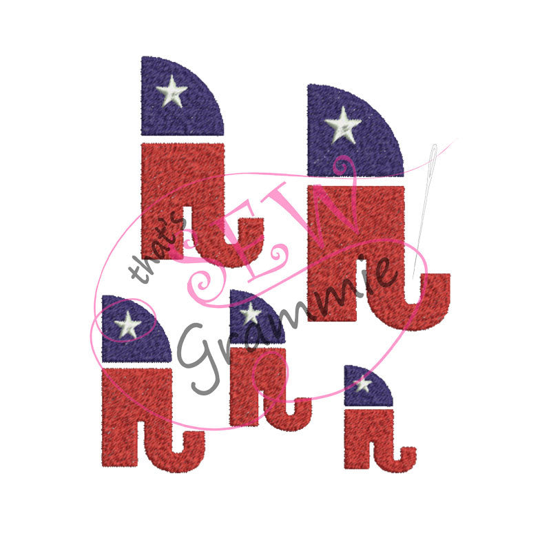 Republican Filled Embroidery Design Raised Right