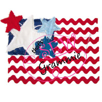 Ric Rac Raggy Flag Applique Design 4th of July