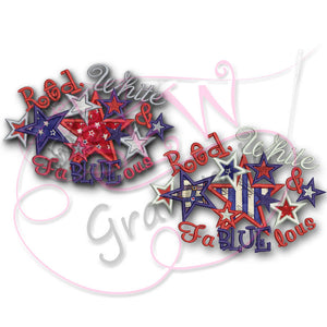 4th of July Applique Red White FaBLUEous/lous SET