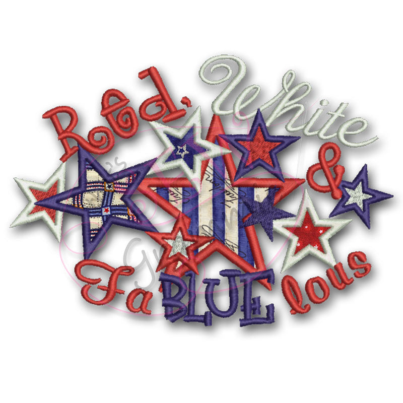 4th of July Applique Design Red White Fa BLUE lous