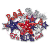 4th of July Applique Design Red White Fa BLUE ous