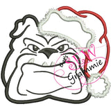Santa Bulldog Applique Design