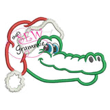 Santa Gator Head Applique Design