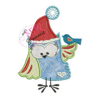 Santa Owl Applique Design