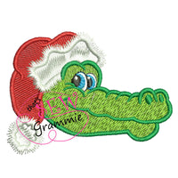 Santa Gator Head Embroidery Design - filled