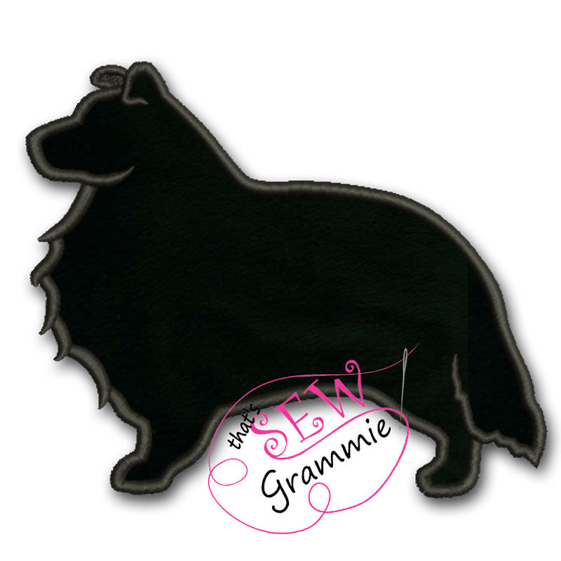 Shetland Sheepdog Silhouette Applique Design