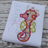 Baby Seahorse Applique Design, Bubble Embellishment Embroidery