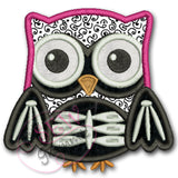 Skeleton Owl Halloween Applique Design