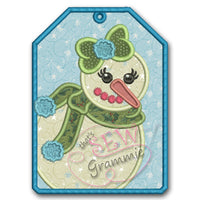 Snow Girl Snowman Gift Tag Applique Design