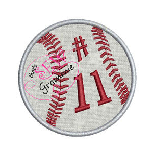 Baseball Softball Applique with Numbers for Koozies