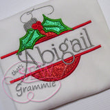Split Christmas Ornament Applique Design w/ Holly