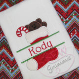 Split Stocking Applique Design w/ Teddy Bear