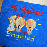 My Students 100 Days Brighter Applique Design