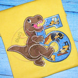 T Rex Birthday Applique Design Number FIVE T-Rex
