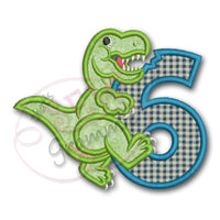 T Rex Birthday Applique Design Number SIX T-Rex