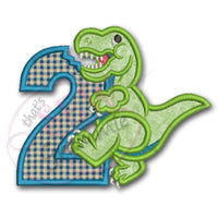 T Rex Birthday Applique Design Number TWO T-Rex