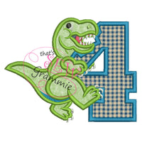 T Rex Birthday Applique Design Number FOUR T-Rex