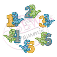 T Rex Applique Design Full Number set 1-6
