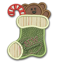 Teddy Bear Christmas Stocking Applique Design