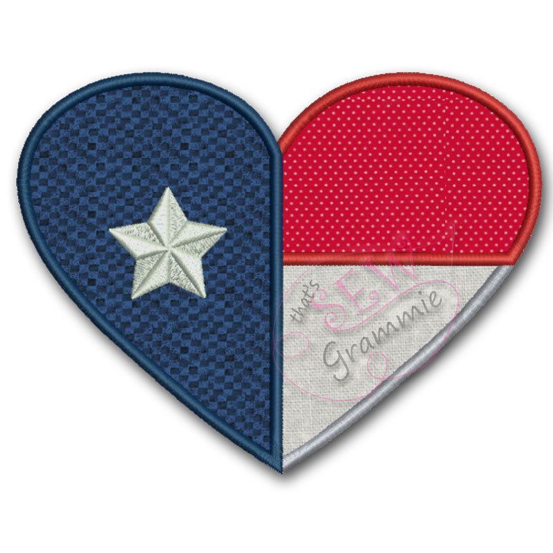 Texas Heart Applique Design