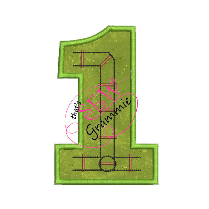 Train Track Number Applique Design ONE