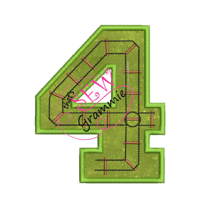Train Track Number Applique Design FOUR