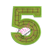 Train Track Number Applique Design FIVE