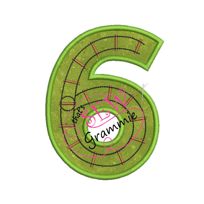 Train Track Number Applique Design SIX