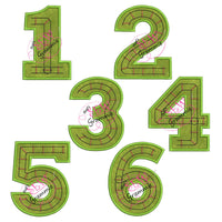 Train Track Numbers Applique Design SET 1-6