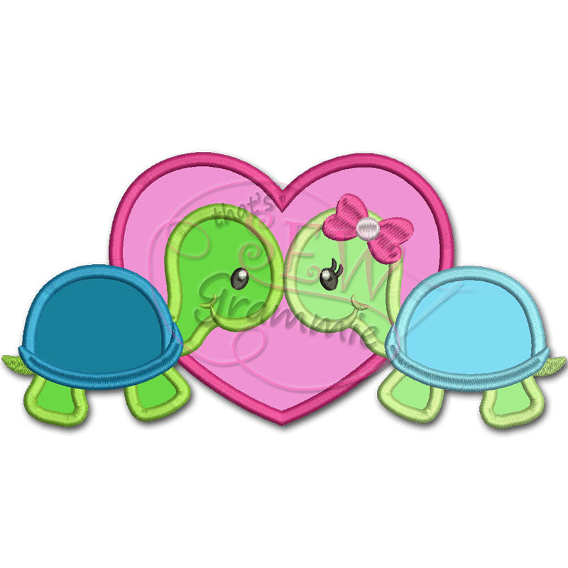 Turtle Love Valentine Applique Design